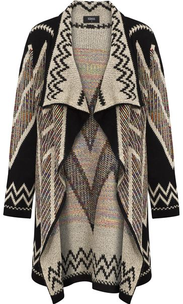 Open Front Cardigan Black/Ecru/Multi