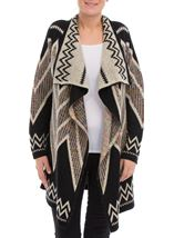 Open Front Cardigan Black/Ecru/Multi - Gallery Image 2
