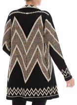 Open Front Cardigan Black/Ecru/Multi - Gallery Image 3
