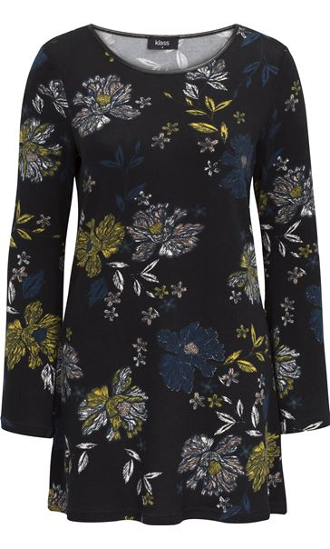 Floral Jersey Tunic Black/Peacock/Pistachio