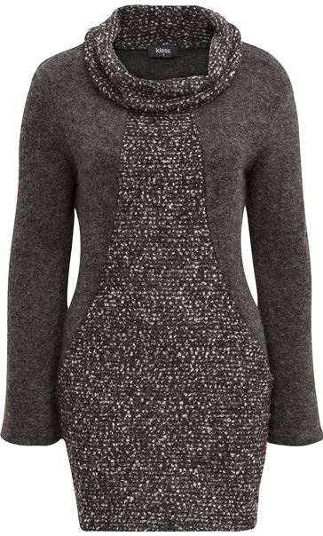 Cowl Neck Knitted Tunic Grey Marl
