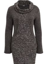 Cowl Neck Knitted Tunic Grey Marl - Gallery Image 1