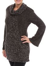 Cowl Neck Knitted Tunic Grey Marl - Gallery Image 2