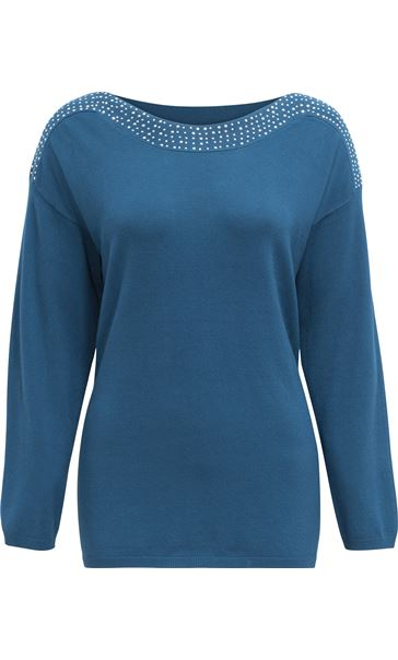 Long Sleeve Embellished Neck Knit Top Peacock