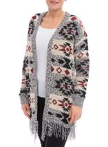 Sparkle Mid Length Cardigan Black/Grape - Gallery Image 2