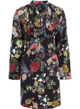 Long Sleeve Floral Print Tunic Black - Gallery Image 1