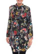 Long Sleeve Floral Print Tunic Black - Gallery Image 2