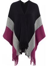 Knitted Shawl Black/Grey/Grape - Gallery Image 1