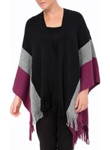 Knitted Shawl Black/Grey/Grape - Gallery Image 2