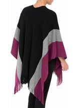 Knitted Shawl Black/Grey/Grape - Gallery Image 3