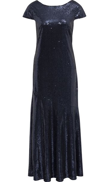 Cowl Back Sequin Maxi Dress Midnight