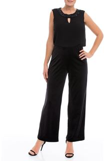 Wide Leg Velour and Chiffon Jumpsuit