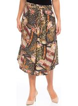 Printed Shaped Hem Midi Skirt