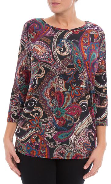 Paisley Printed Tunic Black/Red/Purple