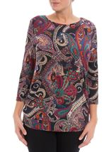 Paisley Printed Tunic Black/Red/Purple - Gallery Image 1