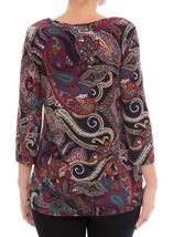Paisley Printed Tunic Black/Red/Purple - Gallery Image 2
