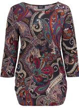 Paisley Printed Tunic Black/Red/Purple - Gallery Image 3