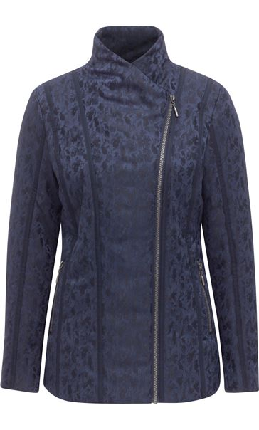 Anna Rose Asymmetric Zip Coat Navy