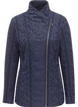 Anna Rose Asymmetric Zip Coat Navy - Gallery Image 1