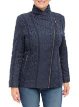 Anna Rose Asymmetric Zip Coat Navy - Gallery Image 2