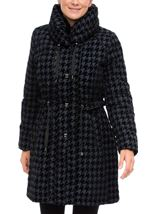 Flocked Dogtooth Coat Navy - Gallery Image 1