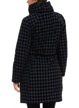 Flocked Dogtooth Coat Navy - Gallery Image 2