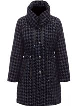 Flocked Dogtooth Coat Navy - Gallery Image 3