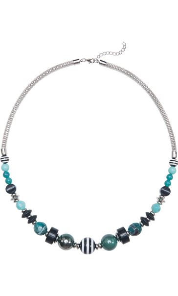 Beaded Statement Necklace Teal Multi