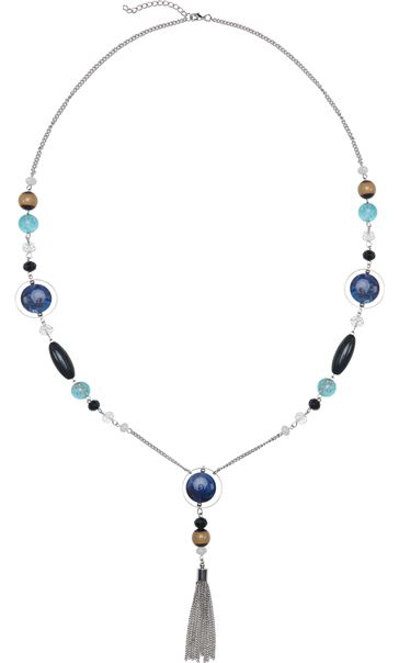 Long Multi Bead Necklace Blue
