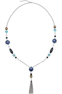 Long Multi Bead Necklace - Blue