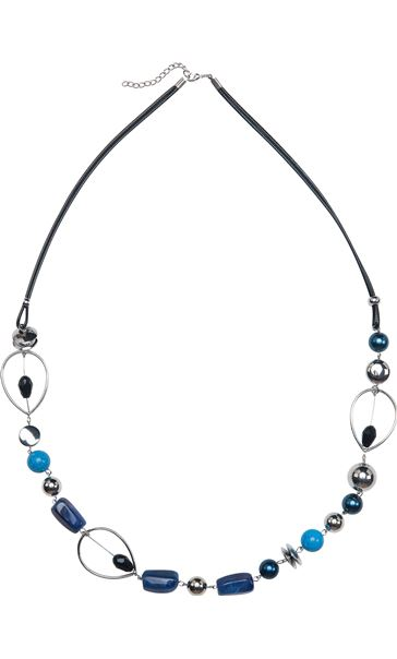 Beaded Fabric Chain Necklace Blue