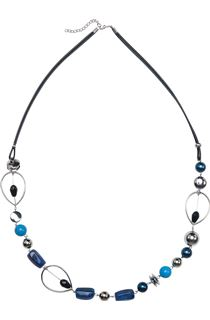 Beaded Fabric Chain Necklace - Blue