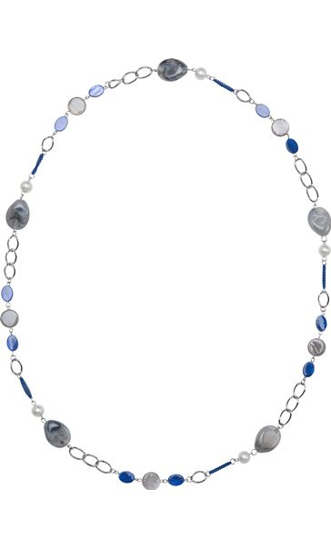Long Beaded Necklace Silver/Blue