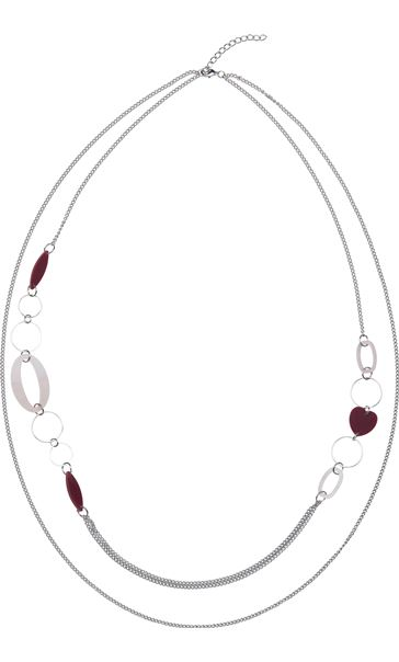 Long Double Layer Necklace Silver/Red