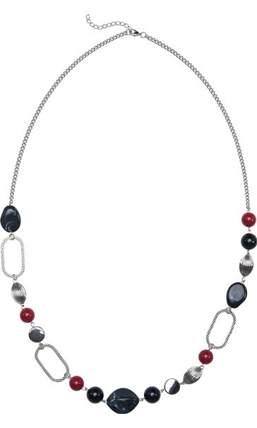 Multi Bead Long Necklace Silver/Red Multi