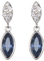 Diamante Droplet Earrings Silver/Midnight - Gallery Image 1