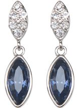 Diamante Droplet Earrings Silver/Midnight - Gallery Image 2