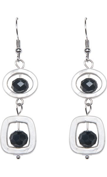 Simple Droplet Earrings Silver/Black