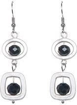 Simple Droplet Earrings Silver/Black - Gallery Image 1