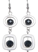 Simple Droplet Earrings Silver/Black - Gallery Image 2
