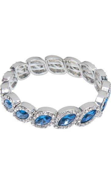 Beaded Diamante Bracelet Silver/Midnight