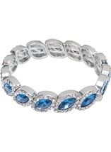 Beaded Diamante Bracelet Silver/Midnight - Gallery Image 1