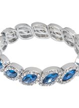 Beaded Diamante Bracelet Silver/Midnight - Gallery Image 2