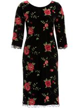 Embroidered Velour Shift Dress Black/Red - Gallery Image 1
