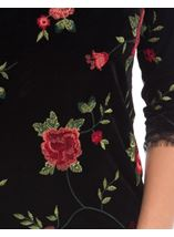 Embroidered Velour Shift Dress Black/Red - Gallery Image 4