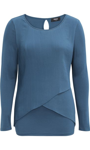 Pleated Georgette And Jersey Long Sleeve Top Peacock
