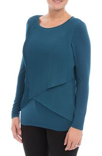 Pleated Georgette And Jersey Long Sleeve Top - Peacock