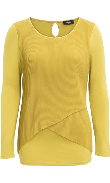 Pleated Georgette And Jersey Long Sleeve Top Pistachio