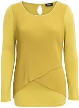 Pleated Georgette And Jersey Long Sleeve Top Pistachio - Gallery Image 1