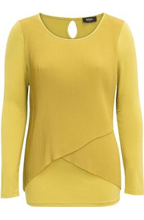 Pleated Georgette And Jersey Long Sleeve Top - Pistachio